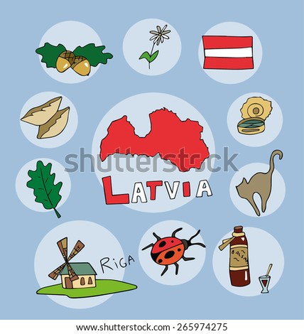the set of  national profile of the geographic maps of the latvia state designed cartoon on the colored background - stock vector