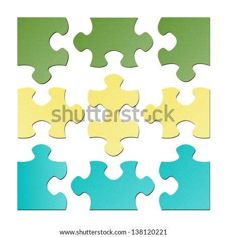The set of nine isolated puzzle pieces / The isolated puzzle pieces - stock vector