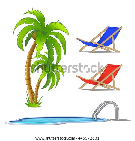 The set of objects on the theme of a resort. Palm, sun loungers and pool isolated on white background. Vector illustration.
