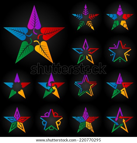 The set of original full color vector stars with leafs, arrows, hearts