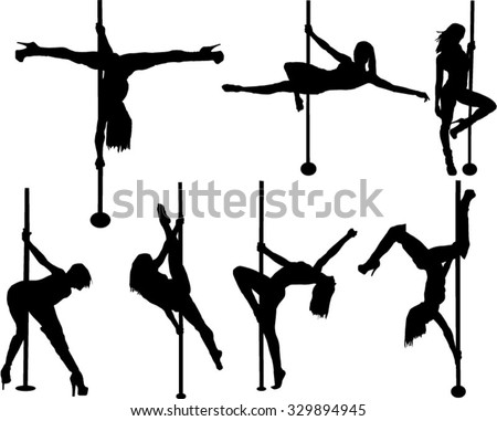 The set of 7 pool dancer silhouette - stock vector