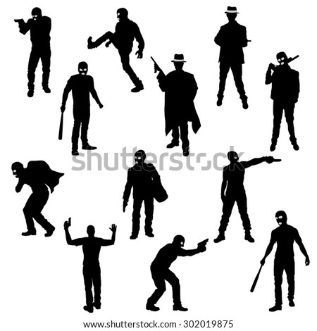 The Set of Robber- Gangster Silhouette- Vector Image - stock vector