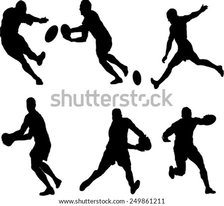 The set of 6 Rugby silhouette - stock vector