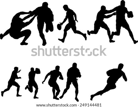 The set of six rugby silhouette  - stock vector