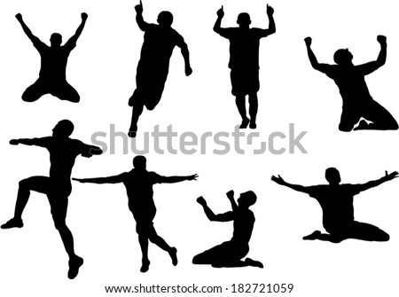 The set of soccer player celebration silhouette - stock vector
