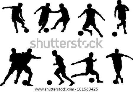 The set of soccer player silhouette - stock vector