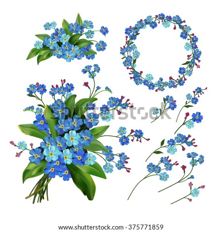 The set of Spring Flowers. Forget me not flowers. Spring vector illustration. Spring flowers isolated on white background. Single flower, wreath, bunch, branches and bouquet flowers. Floral elements. - stock vector
