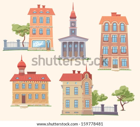 The set of the old but classic vector buildings. There are the residence building, the  apartment houses, the small parks and the town hall. - stock vector
