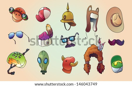 The set of the unusual, party and casual headwear set. Editable vector EPS v.10. Enjoy! - stock vector