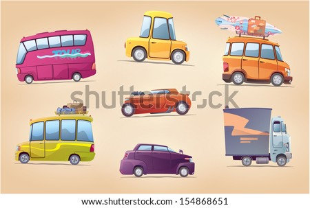 The set of the vector cartoon vehicles. There are a touring buses, the racing hot rod, the surfer's van, the heavy truck and the other. This is EPS 10.0 editable layered vector. Enjoy! - stock vector