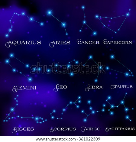 The set of twelve constellations. Constellations of the zodiacal circle. Dark night. Starry sky. Bright shining stars. Horoscope, predictions and prophecies. Vector illustration. - stock vector