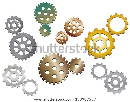 The set of various metal steampunk gears - stock vector