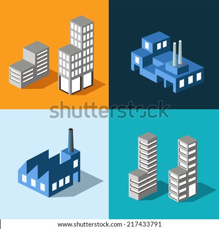 The set of vector buildings with urban transport - stock vector