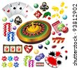 The set of vector casino elements or icons including roulette wheel, playing cards, chips, dice  and more - stock vector