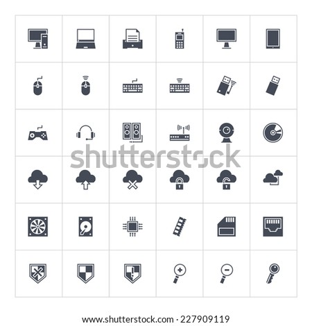 The set of vector computer icons in flat style. Use with pleasure for your sites or any kind of infographic. - stock vector
