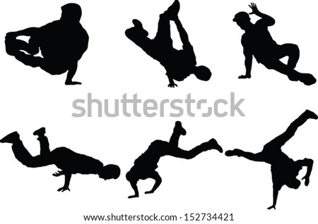 The set of 6 vector dancer silhouette  - stock vector