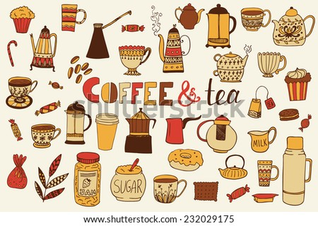 The set of vector icons with coffee and tea kettles. Cups, sweets, candies. Food and drinks. Hand drawn vector background - stock vector
