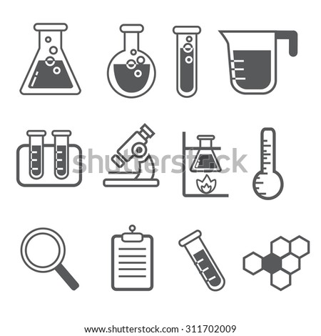 the set of vector outline chemical icons. Test tube icon, experiments icon, science icon, magnifier icon, microscope icon, atom icon.  - stock vector