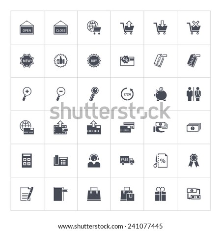 The set of vector shopping icons in flat style. Use with pleasure for your sites or any kind of infographic. - stock vector
