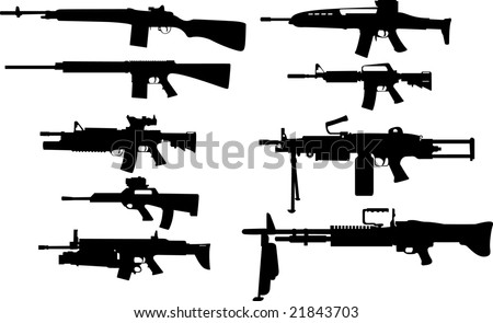 The set of vector silhouettes: US Army Weapons