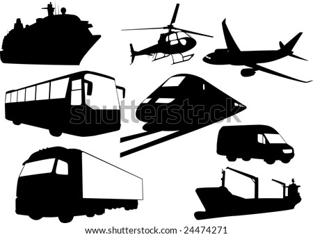 The set of vector transport silhouettes - stock vector