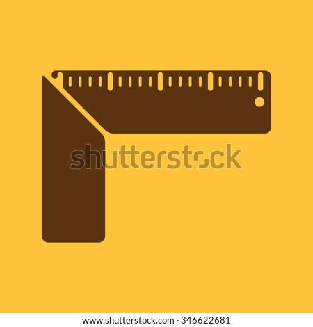 The setsquare icon. Building square symbol. Flat Vector illustration - stock vector