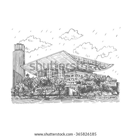 The Shanghai Grand Theatre. Shanghai, China. Vector freehand pencil sketch.