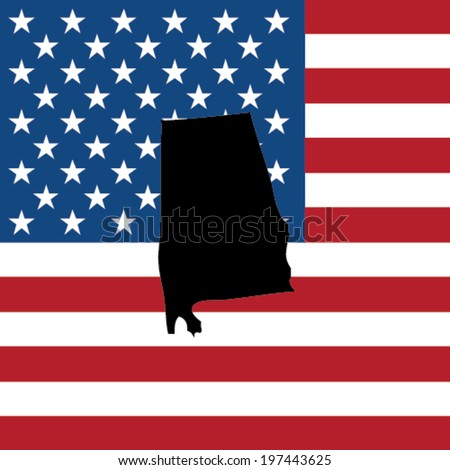 The shape of the state of Alabama with the American Flag in the Background