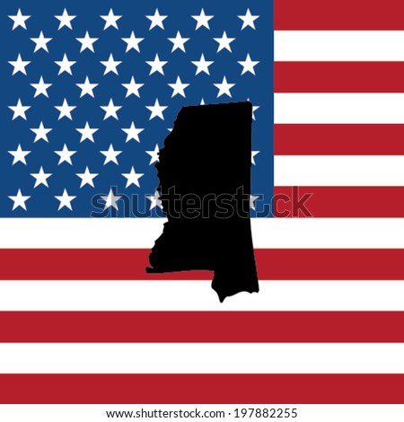 The shape of the state of Mississippi with the American Flag in the Background - stock vector