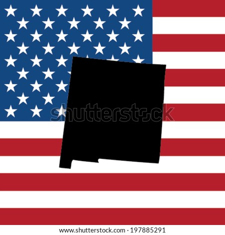 The shape of the state of New Mexico with the American Flag in the Background