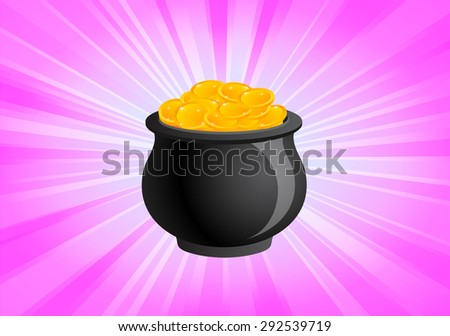 The Shiny Pot of Gold - stock vector