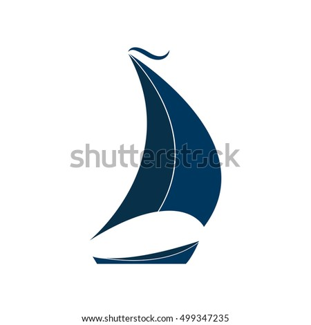 The ship with sails vector illustration. Logo for Yacht Club