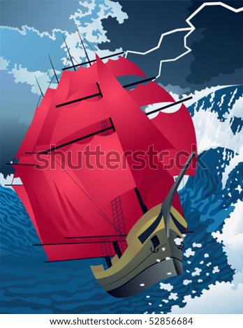 The ship with scarlet sails during a storm. - stock vector