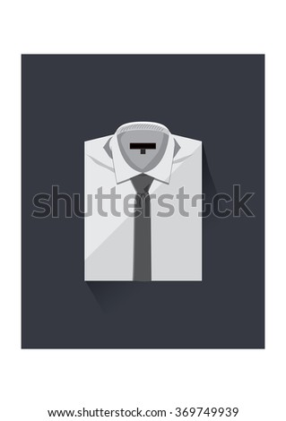 The shirt with necktie .Flat design concept vector.Business wear