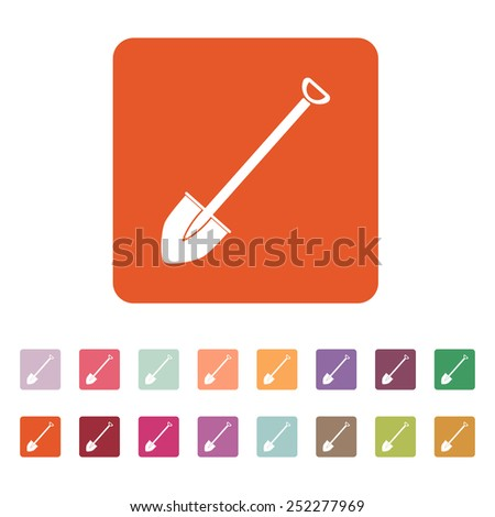 The shovel icon. Spade symbol. Flat Vector illustration. Button Set - stock vector