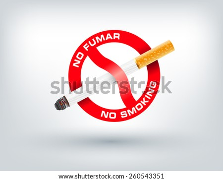 "The sign no smoking. Vector illustration with Spanish text ""No Smoking"" - stock vector"