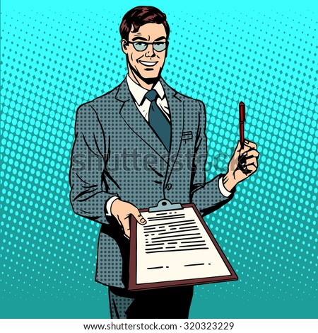 The signing of the contract signature to the document. Business concept the contract agreement deal. Retro style pop art - stock vector