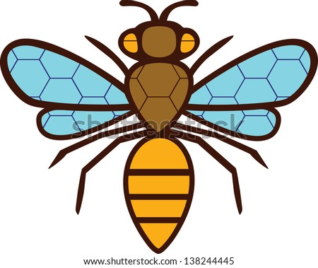 The silhouette drawing bee. On the wings and body painted a grid of hexagons. - stock vector