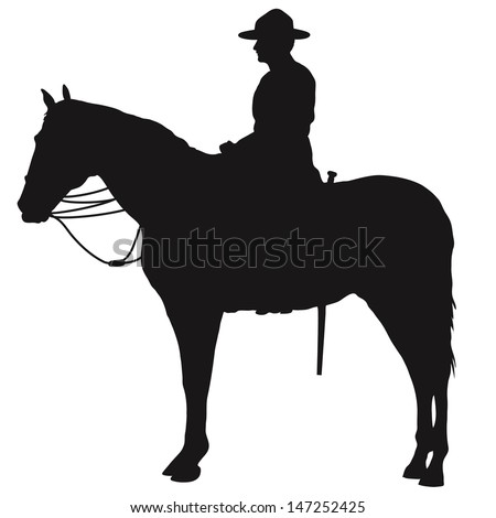 The silhouette of a Canadian Mounted Police officer - stock vector