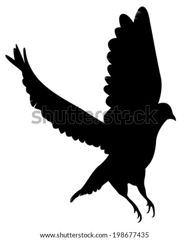 the silhouette of a flying dove on a white background vector