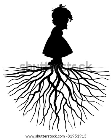 The silhouette of a girl with root - stock vector