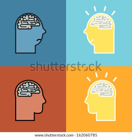The silhouette of a man's head and image of the brain. Concept of Idea  - stock vector