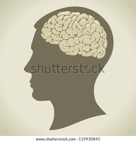 the silhouette of a man's head and volume image of the brain - stock vector