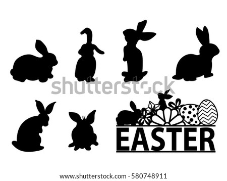 printable easter silhouette craft rabbit silhouette stock images royalty free images 5288