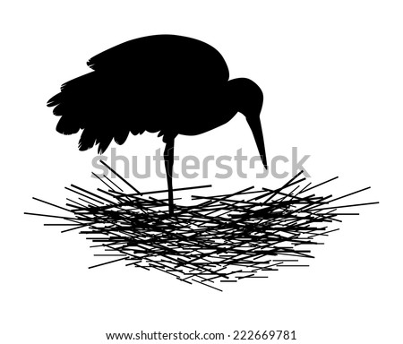 the silhouette of a stork nest on white background vector - stock vector