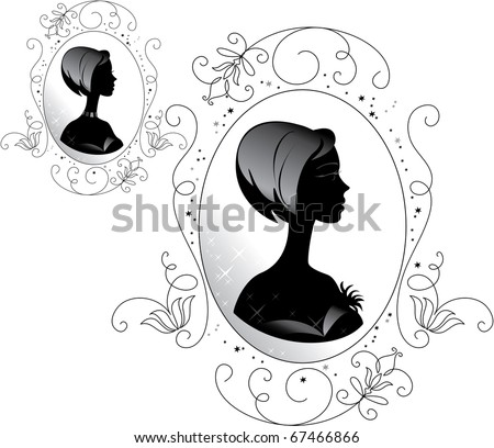 The silhouette of a woman in an ornate frame. Inner frame color easily changed. - stock vector