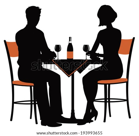 the silhouette of a young couple at the table with a bottle of wine - stock vector