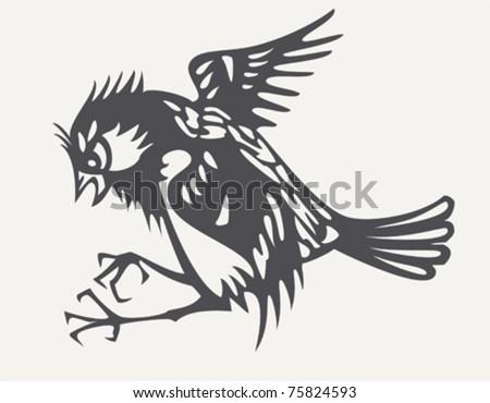 Black and white sparrow gillus