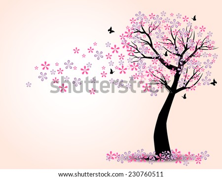 the silhouette of cherry trees and butterfly vector - stock vector