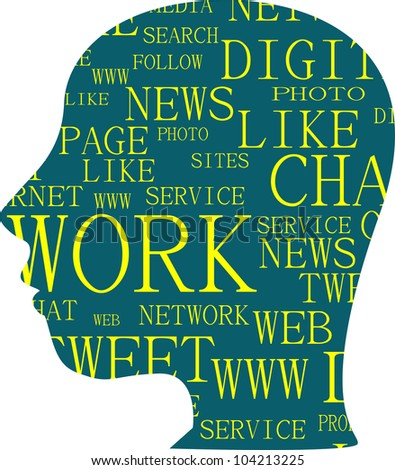 the silhouette of head with the words on the topic of social networking - stock vector